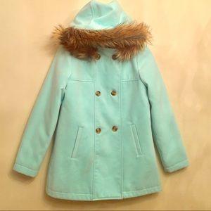 Cat & Jack Wool Faux Fur Hooded Coat